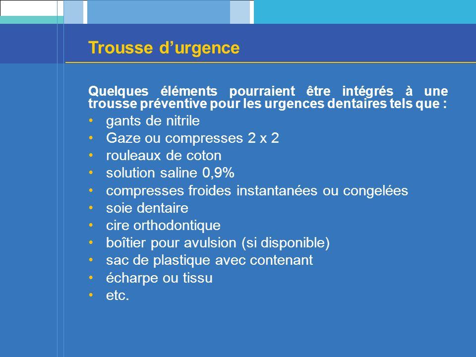 Trousse d'urgence gants de nitrile Gaze ou compresses 2 x 2