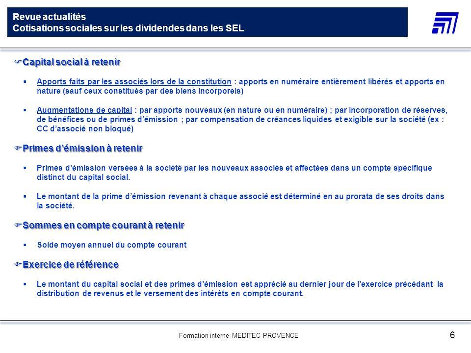 Revue actualités Cotisations sociales sur les dividendes dans les SEL