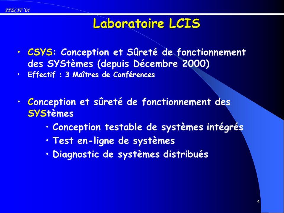 Laboratoire LCIS CSYS: Conception et Sûreté de fonctionnement des SYStèmes (depuis Décembre 2000) Effectif : 3 Maîtres de Conférences.