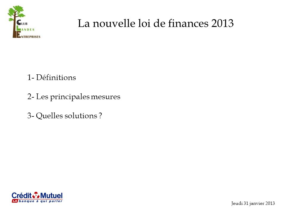 La nouvelle loi de finances 2013