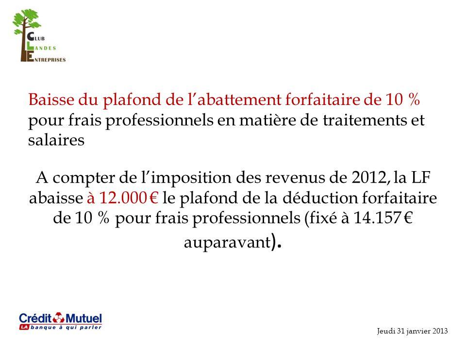 Baisse du plafond de l'abattement forfaitaire de 10 % pour frais professionnels en matière de traitements et salaires