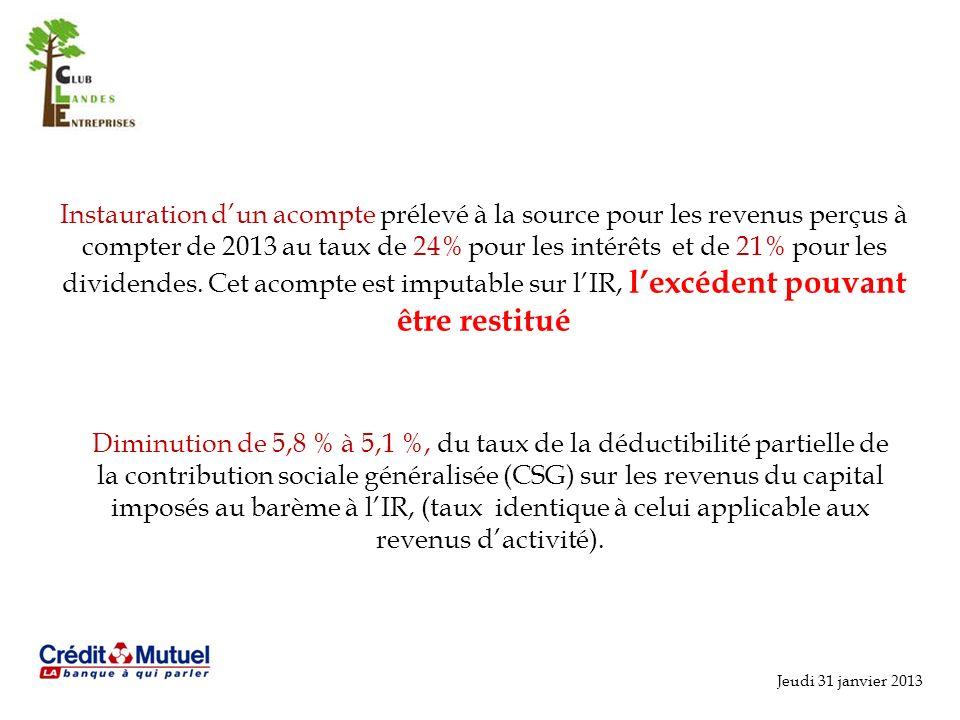 Instauration d'un acompte prélevé à la source pour les revenus perçus à compter de 2013 au taux de 24% pour les intérêts et de 21% pour les dividendes. Cet acompte est imputable sur l'IR, l'excédent pouvant être restitué