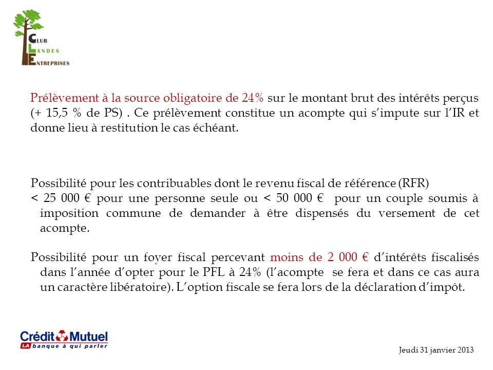Prélèvement à la source obligatoire de 24% sur le montant brut des intérêts perçus (+ 15,5 % de PS) . Ce prélèvement constitue un acompte qui s'impute sur l'IR et donne lieu à restitution le cas échéant.
