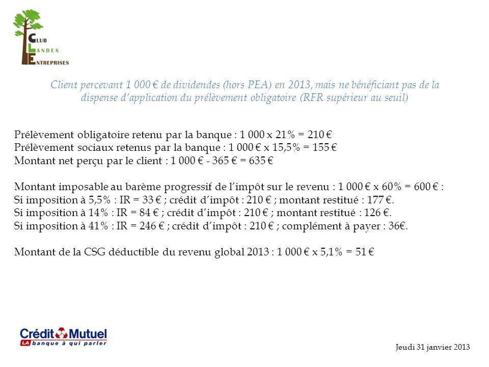 Prélèvement obligatoire retenu par la banque : 1 000 x 21% = 210 €