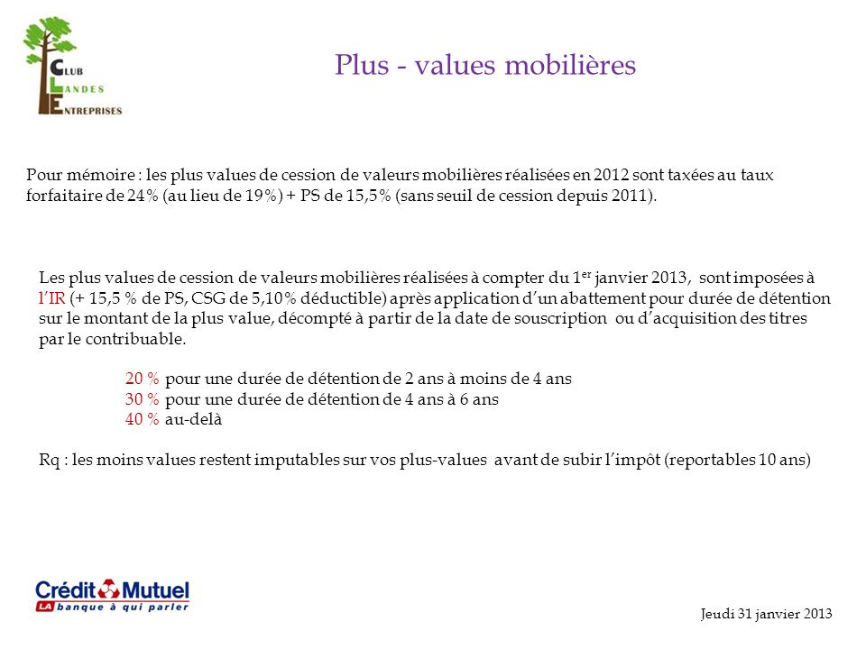 Plus - values mobilières