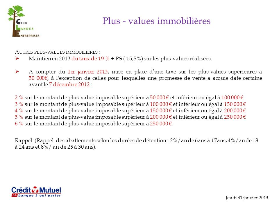 Plus - values immobilières