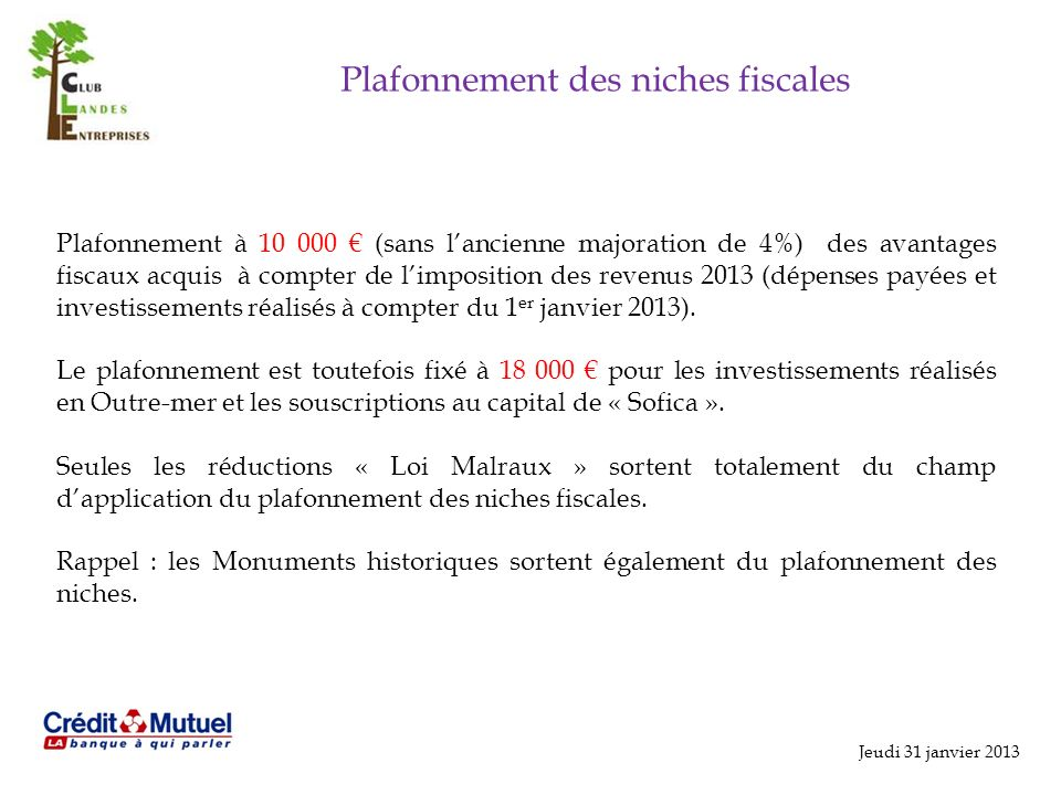 Plafonnement des niches fiscales