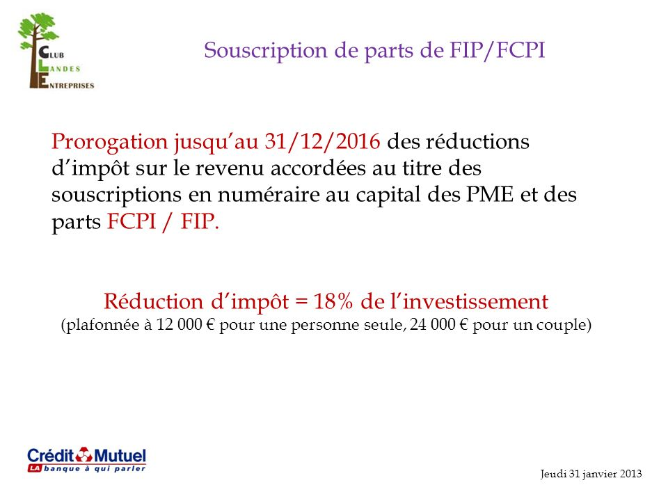 Souscription de parts de FIP/FCPI