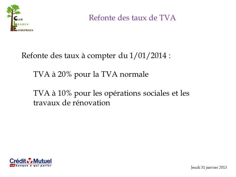 Refonte des taux à compter du 1/01/2014 :
