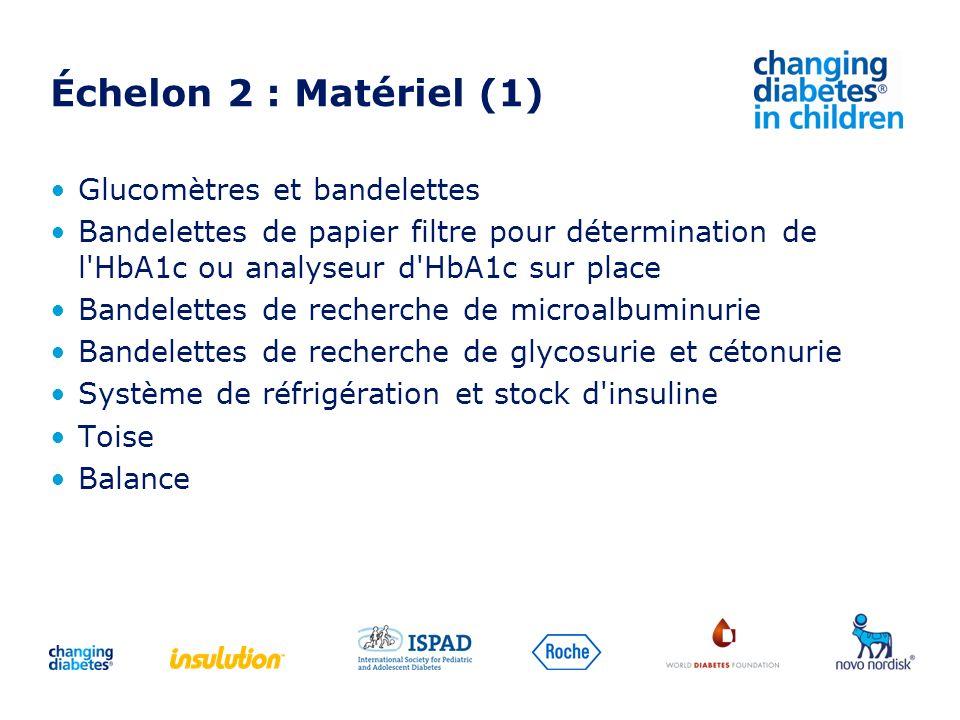 Échelon 2 : Matériel (1) Glucomètres et bandelettes