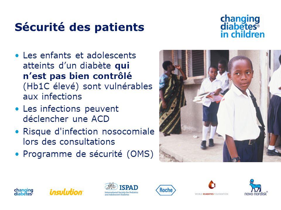Sécurité des patients Les enfants et adolescents atteints d'un diabète qui n'est pas bien contrôlé (Hb1C élevé) sont vulnérables aux infections.