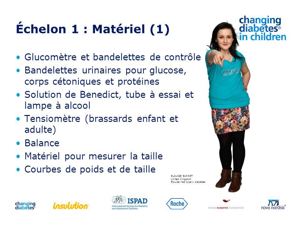 Échelon 1 : Matériel (1) Glucomètre et bandelettes de contrôle