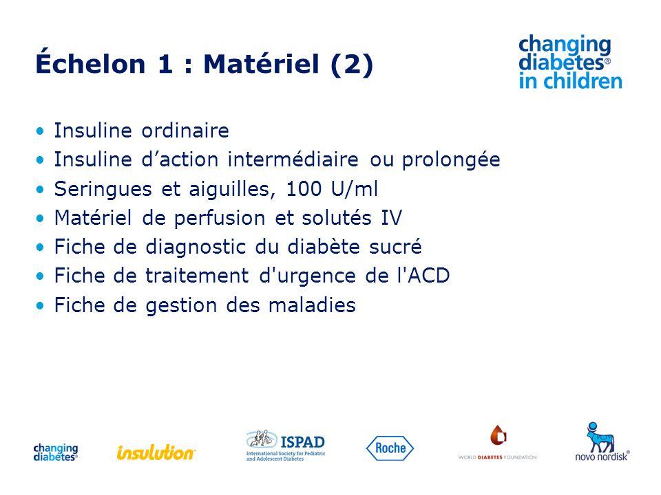 Échelon 1 : Matériel (2) Insuline ordinaire