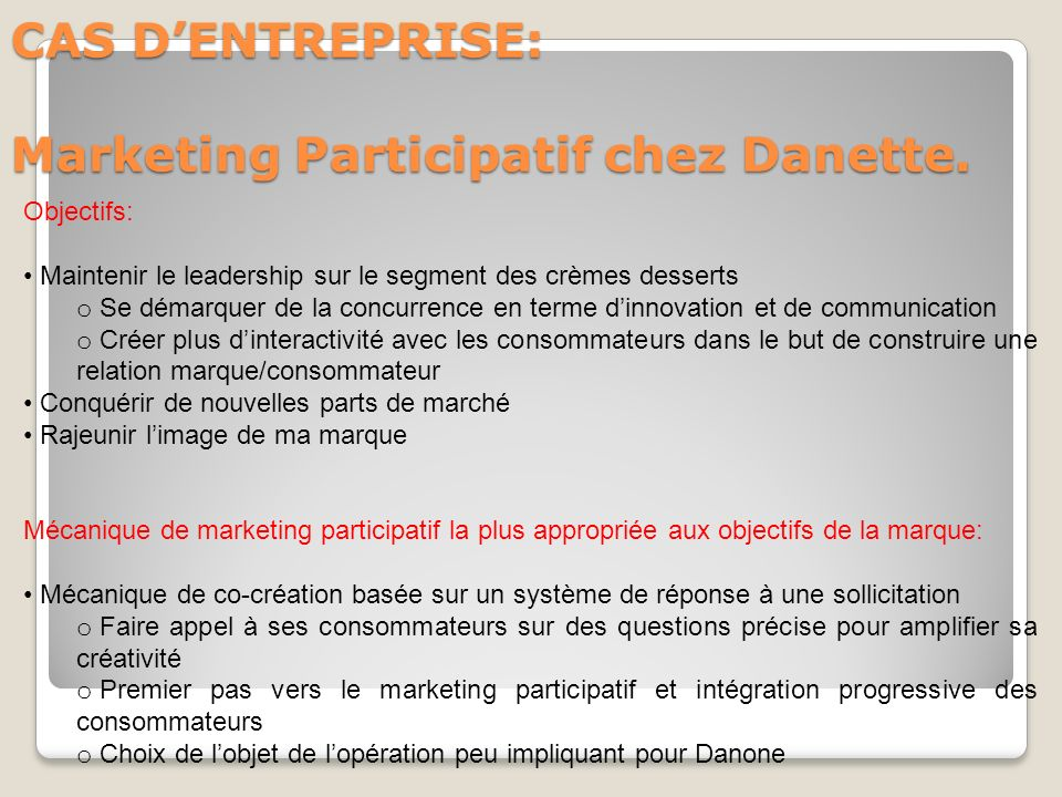 CAS D'ENTREPRISE: Marketing Participatif chez Danette.