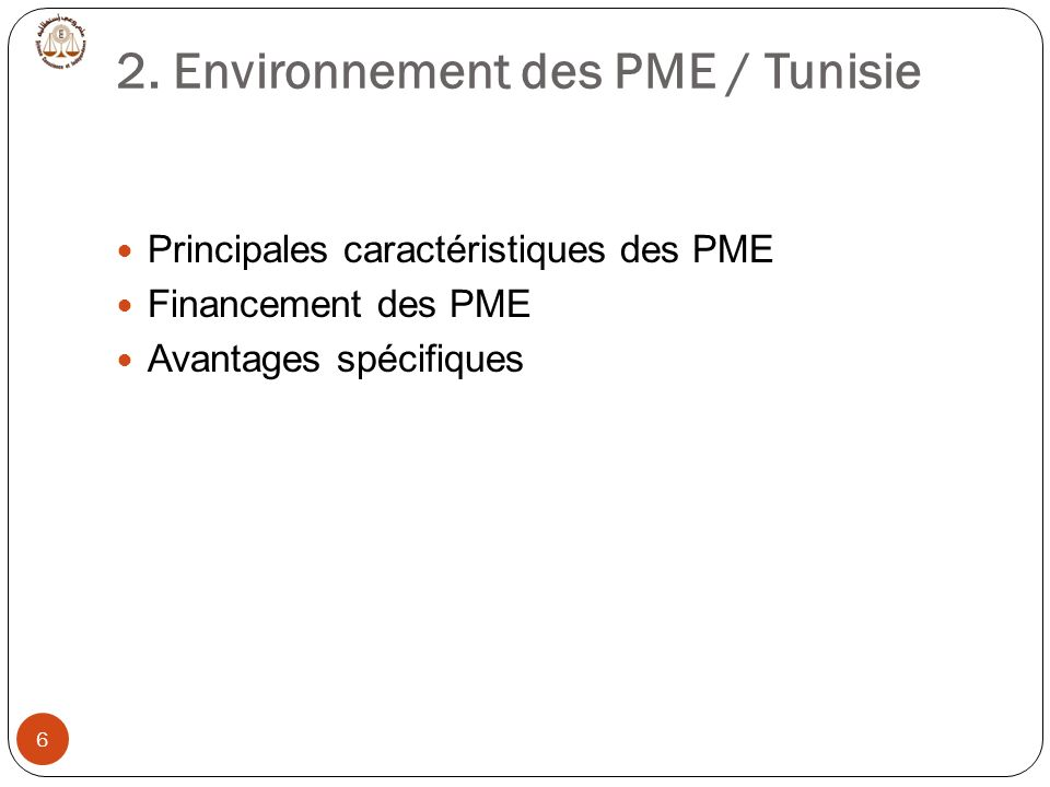 2. Environnement des PME / Tunisie