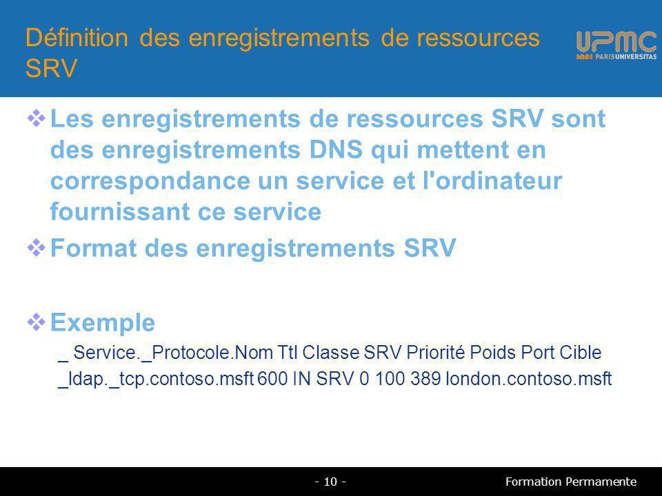 Définition des enregistrements de ressources SRV