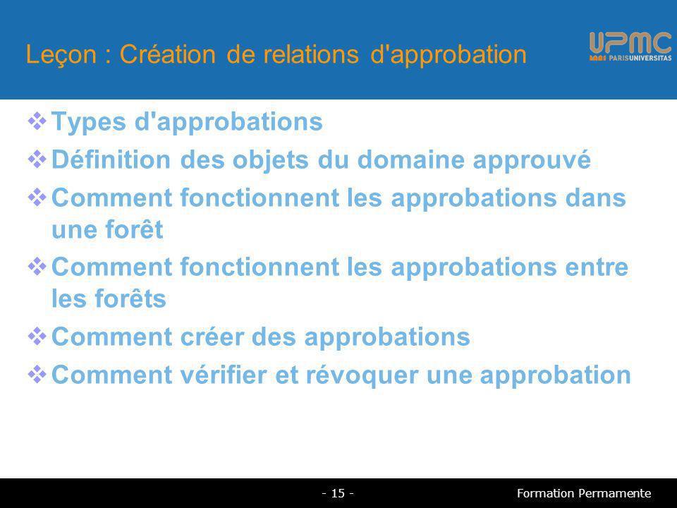 Leçon : Création de relations d approbation