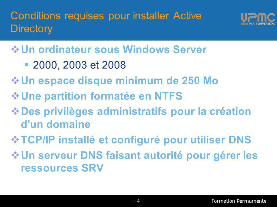 Conditions requises pour installer Active Directory