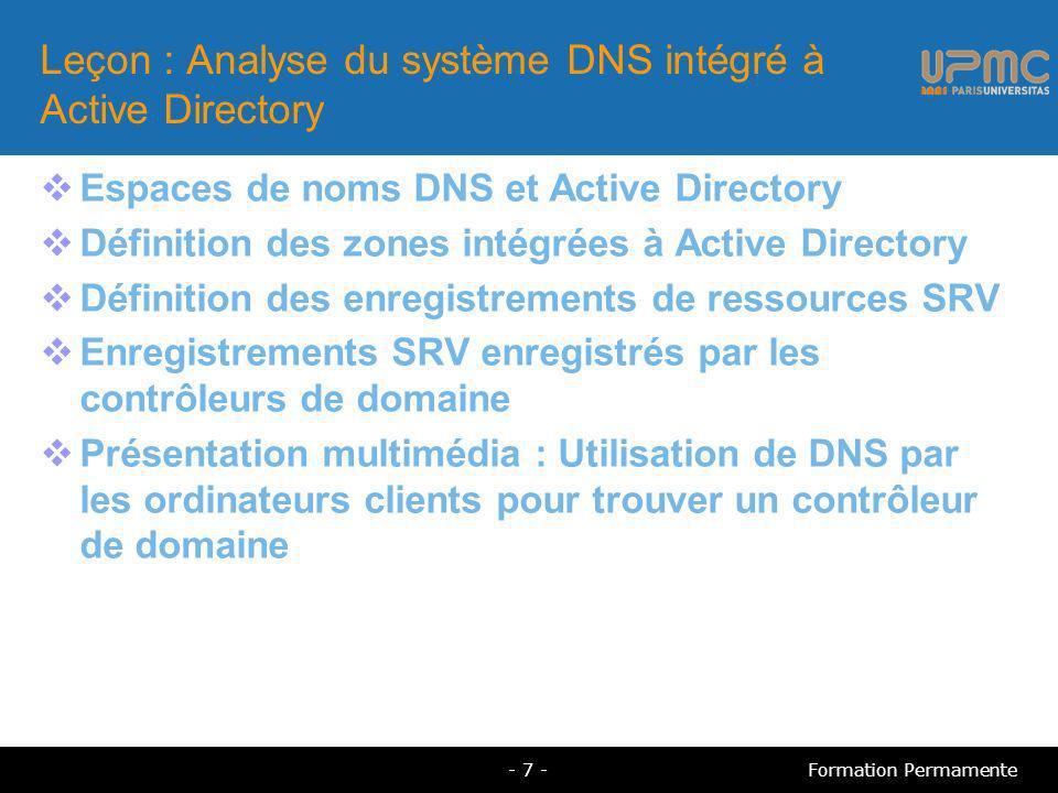 Leçon : Analyse du système DNS intégré à Active Directory
