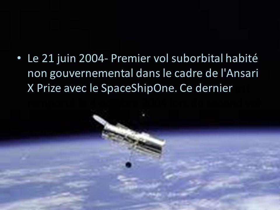 Le 21 juin 2004- Premier vol suborbital habité non gouvernemental dans le cadre de l Ansari X Prize avec le SpaceShipOne.