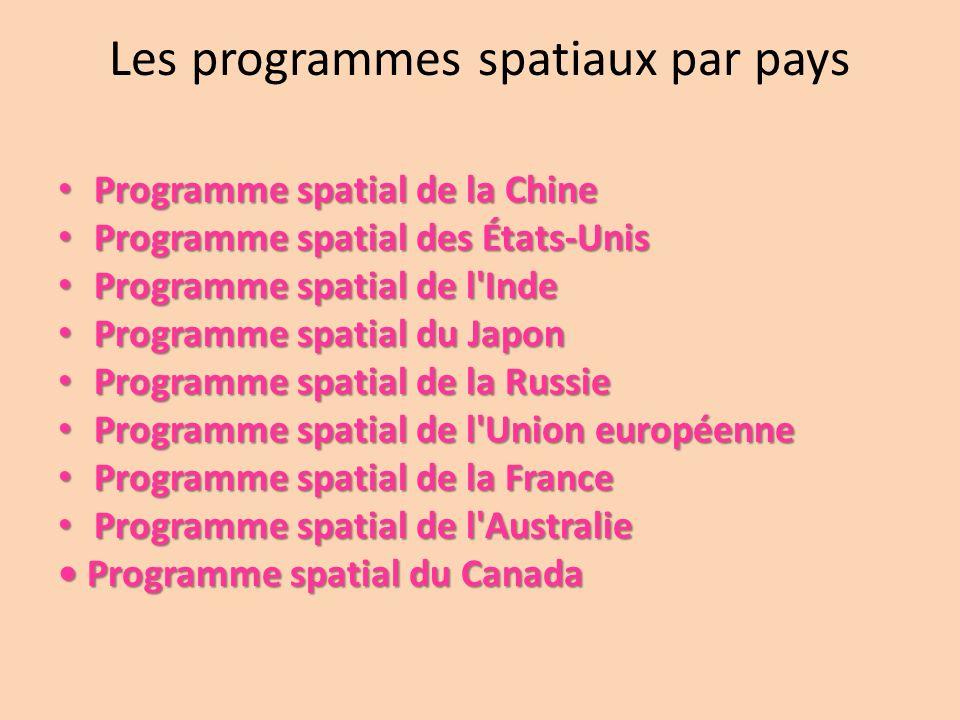 Les programmes spatiaux par pays