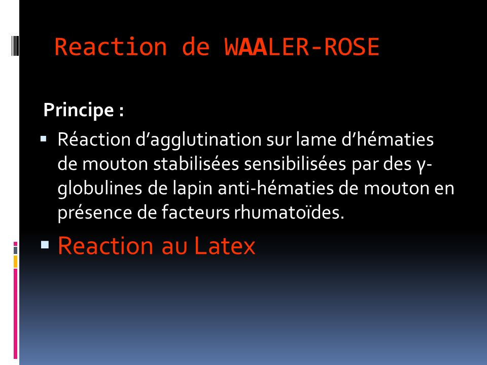 Reaction de WAALER-ROSE