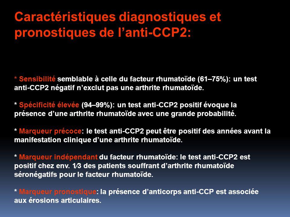 Caractéristiques diagnostiques et pronostiques de l'anti-CCP2:
