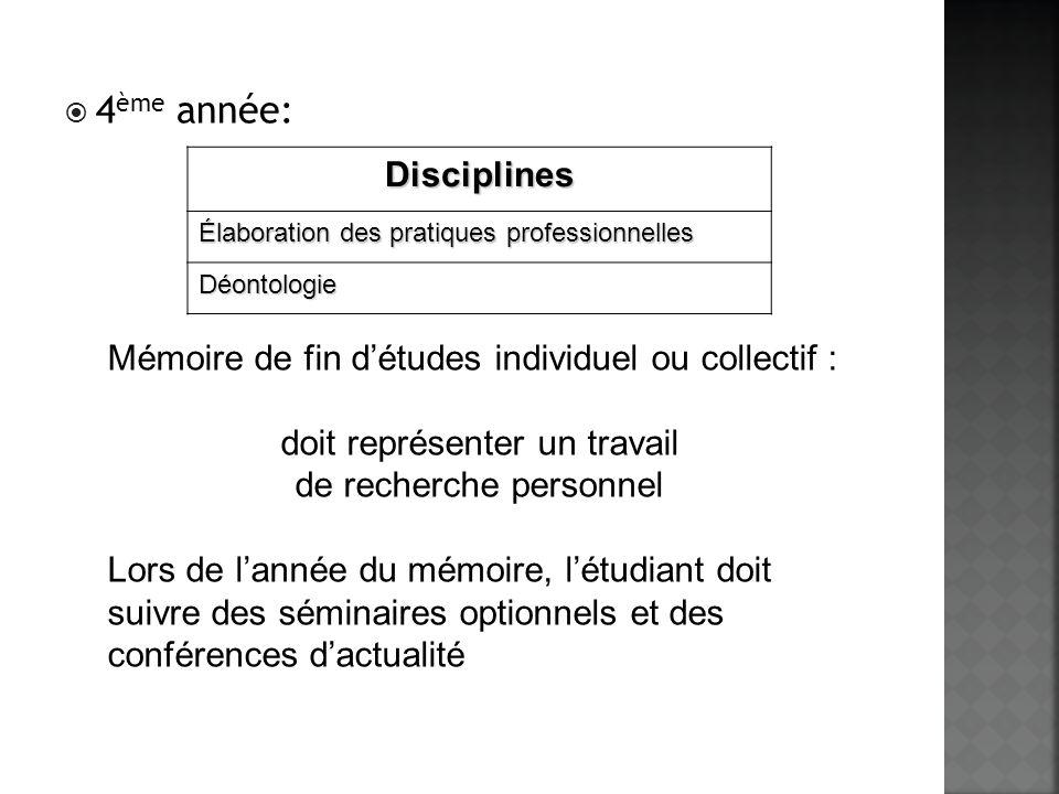 4ème année: Disciplines