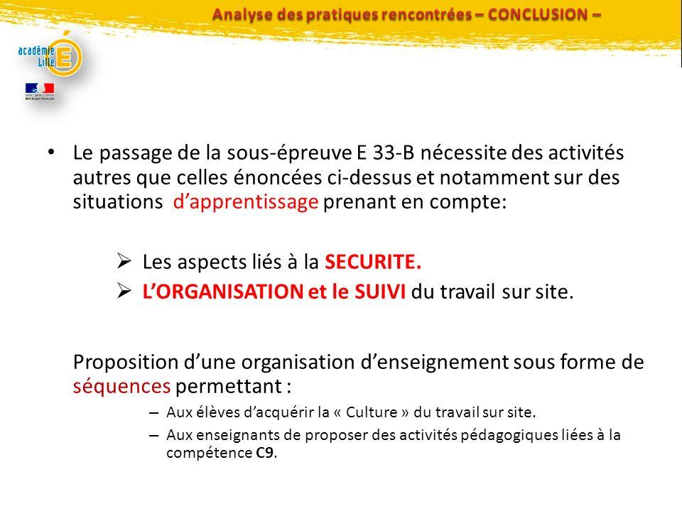 Analyse des pratiques rencontrées – CONCLUSION –