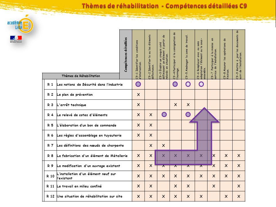 Thèmes de réhabilitation - Compétences détaillées C9