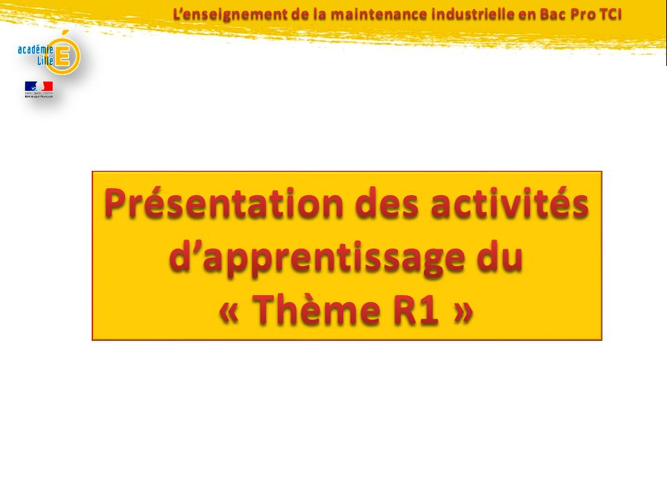 L'enseignement de la maintenance industrielle en Bac Pro TCI