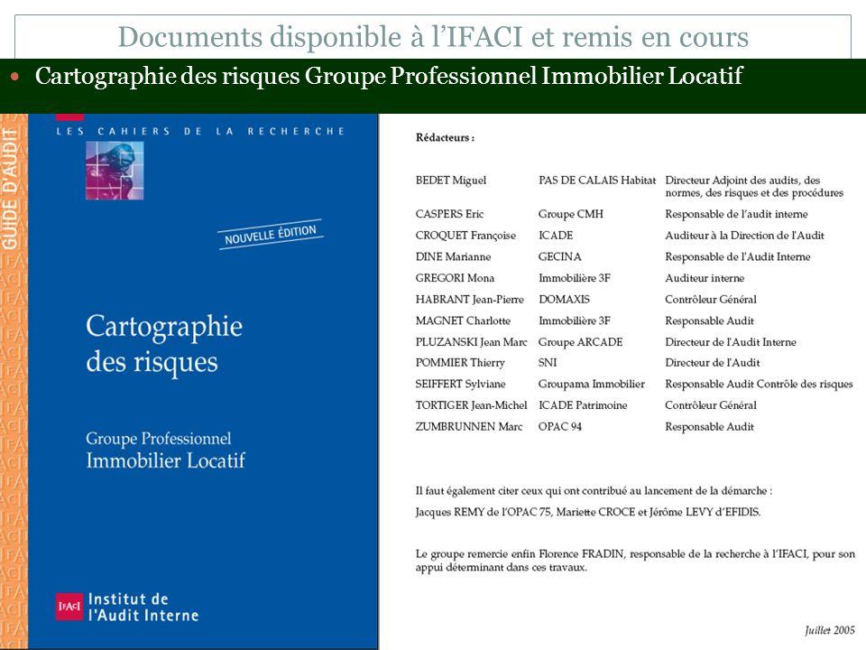 Documents disponible à l'IFACI et remis en cours