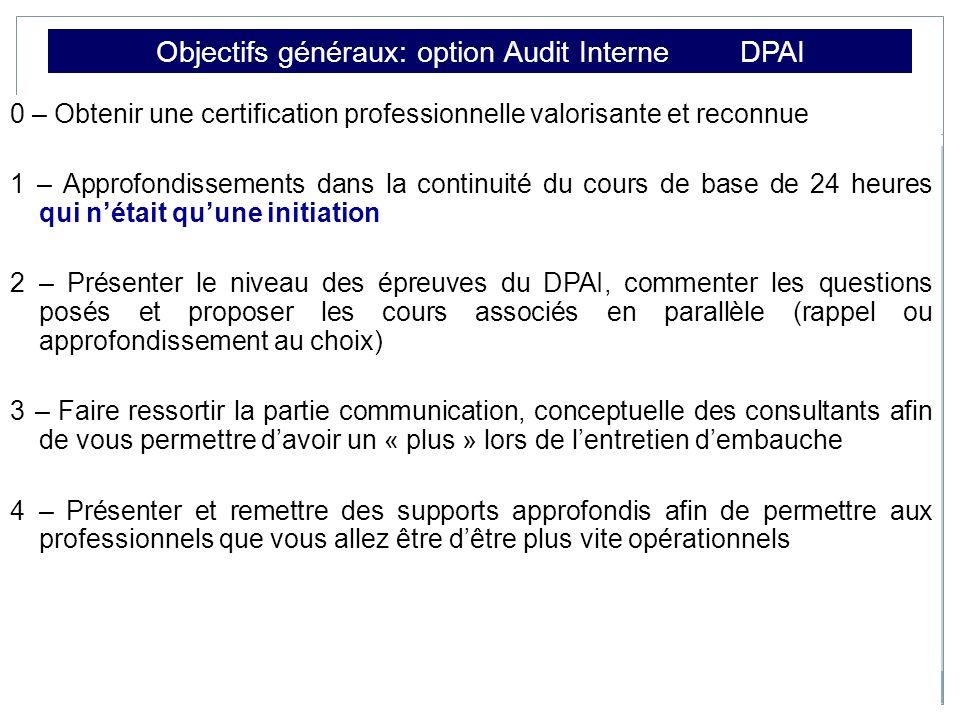 Objectifs généraux: option Audit Interne DPAI