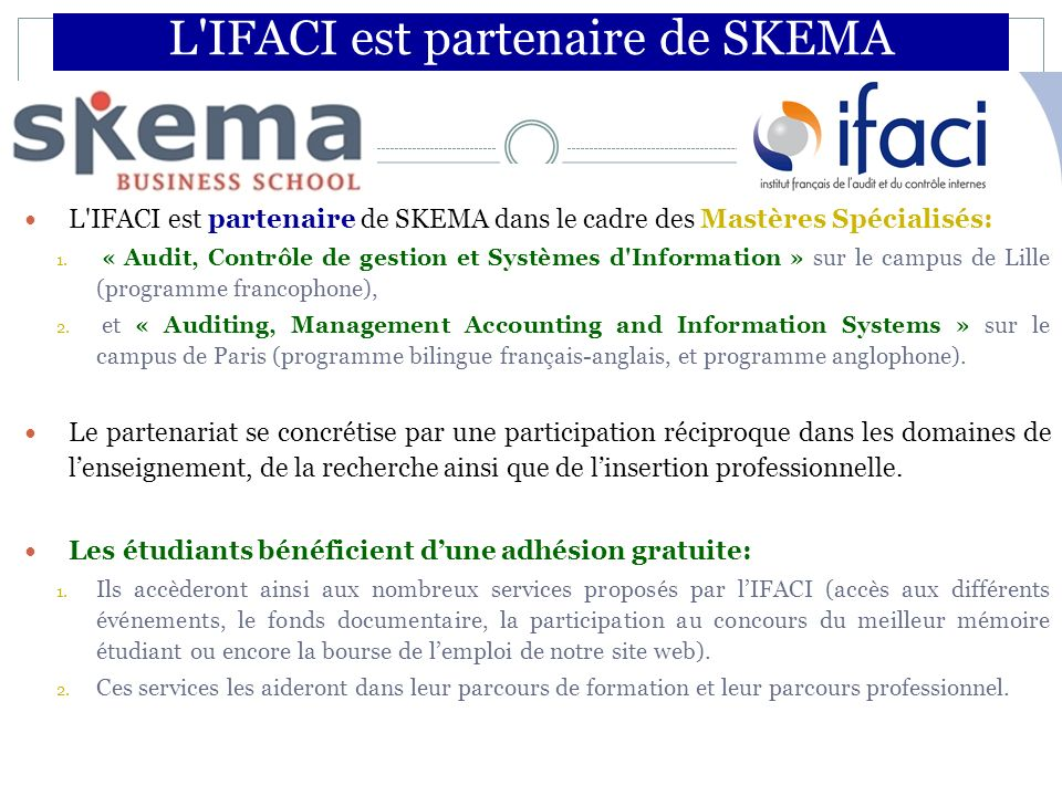 L IFACI est partenaire de SKEMA