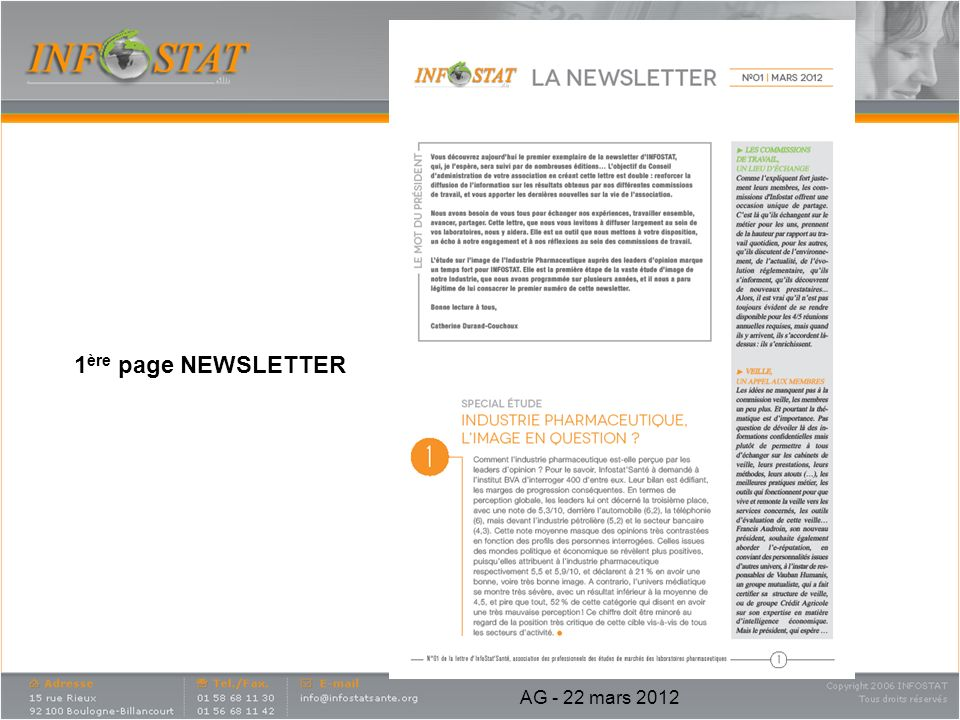 1ère page NEWSLETTER AG - 22 mars 2012