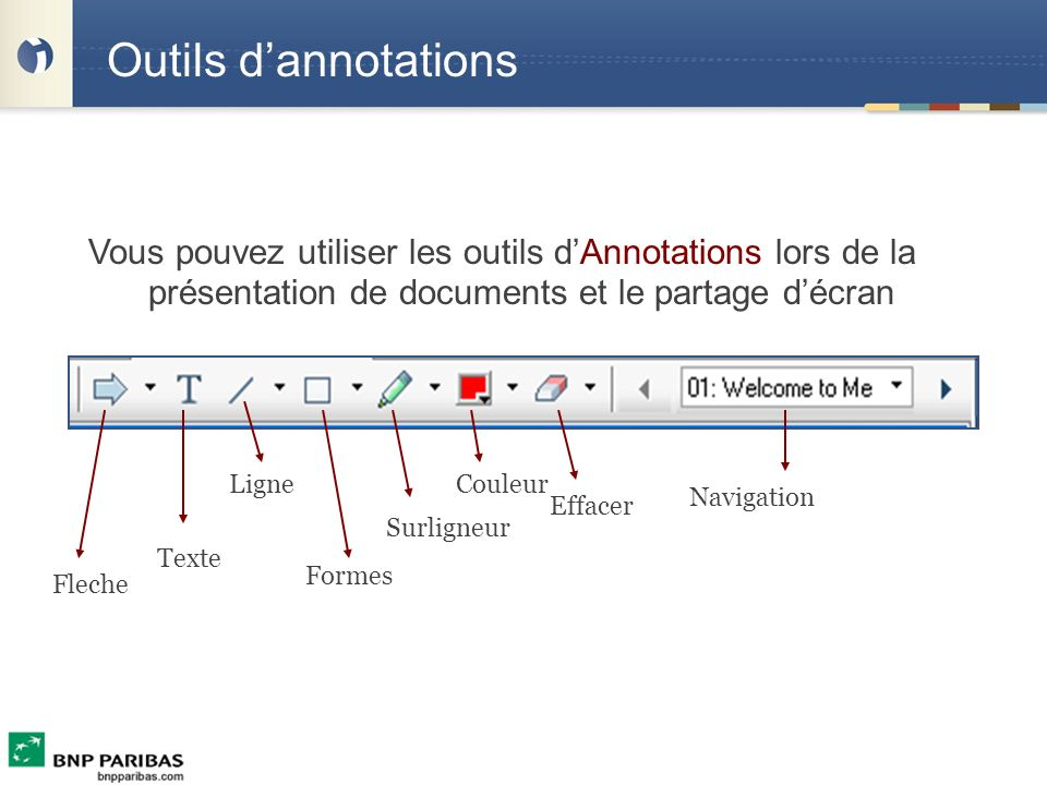 Outils d'annotations Vous pouvez utiliser les outils d'Annotations lors de la présentation de documents et le partage d'écran.