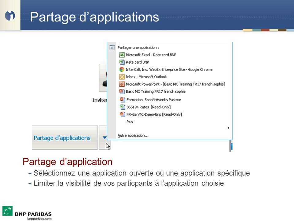 Partage d'applications