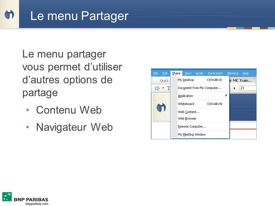 Le menu Partager Contenu Web Navigateur Web
