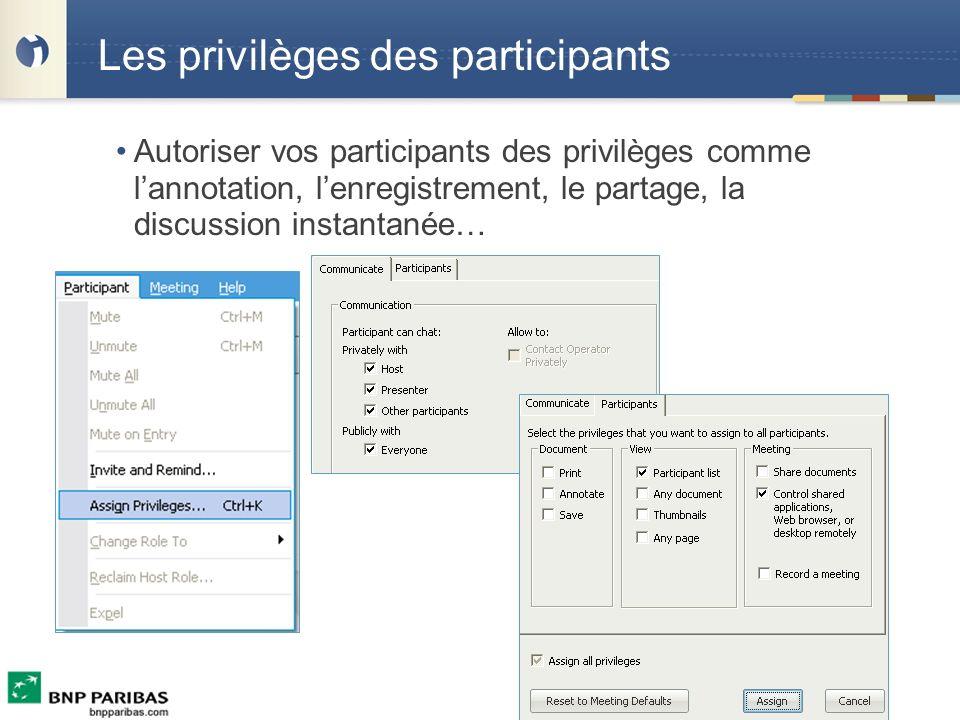 Les privilèges des participants