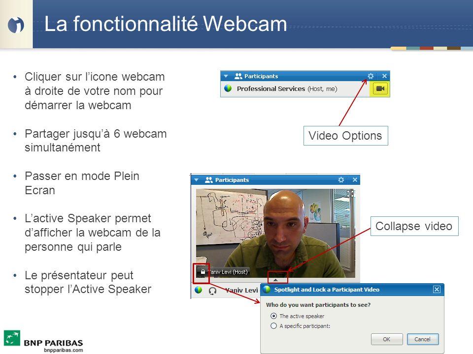 La fonctionnalité Webcam