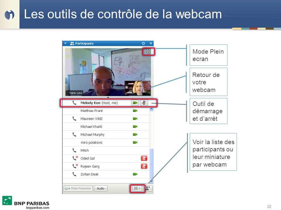 Les outils de contrôle de la webcam