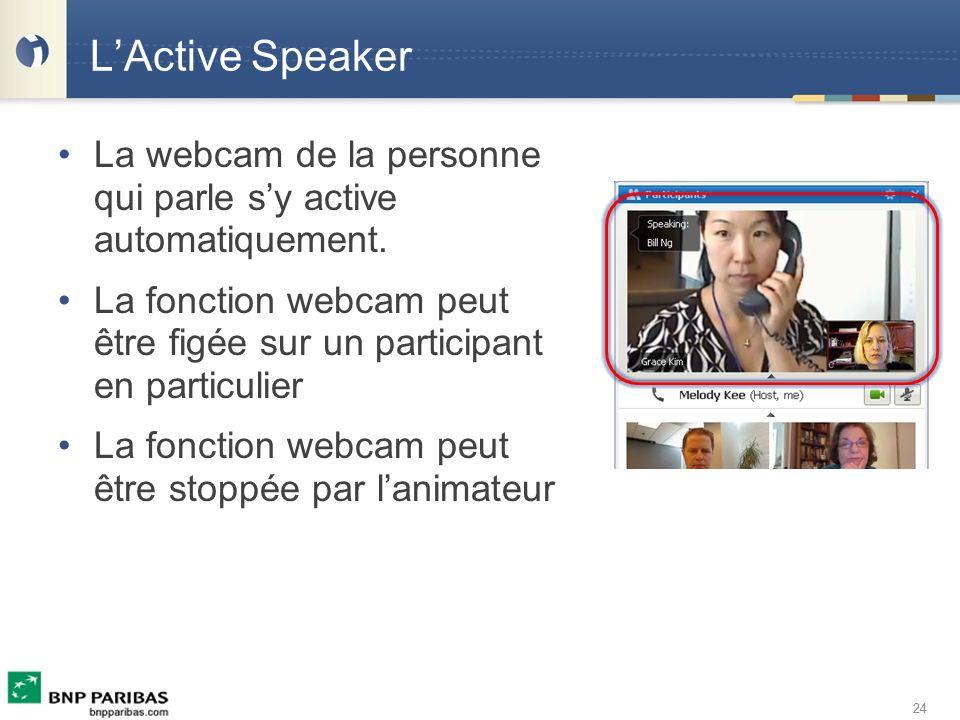 L'Active Speaker La webcam de la personne qui parle s'y active automatiquement. La fonction webcam peut être figée sur un participant en particulier.