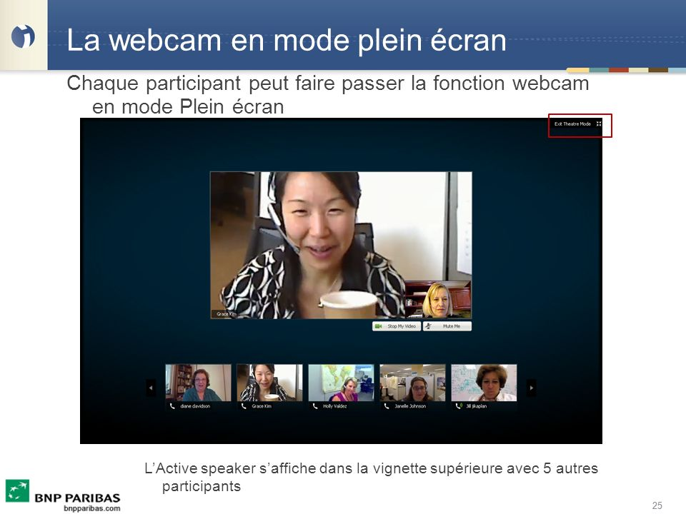 La webcam en mode plein écran