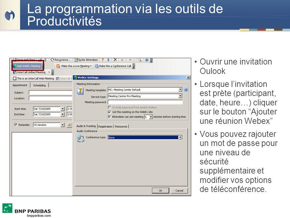 La programmation via les outils de Productivités