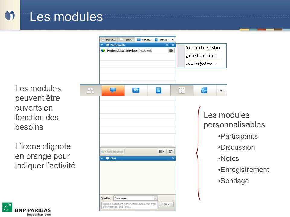 Les modules Les modules peuvent être ouverts en fonction des besoins