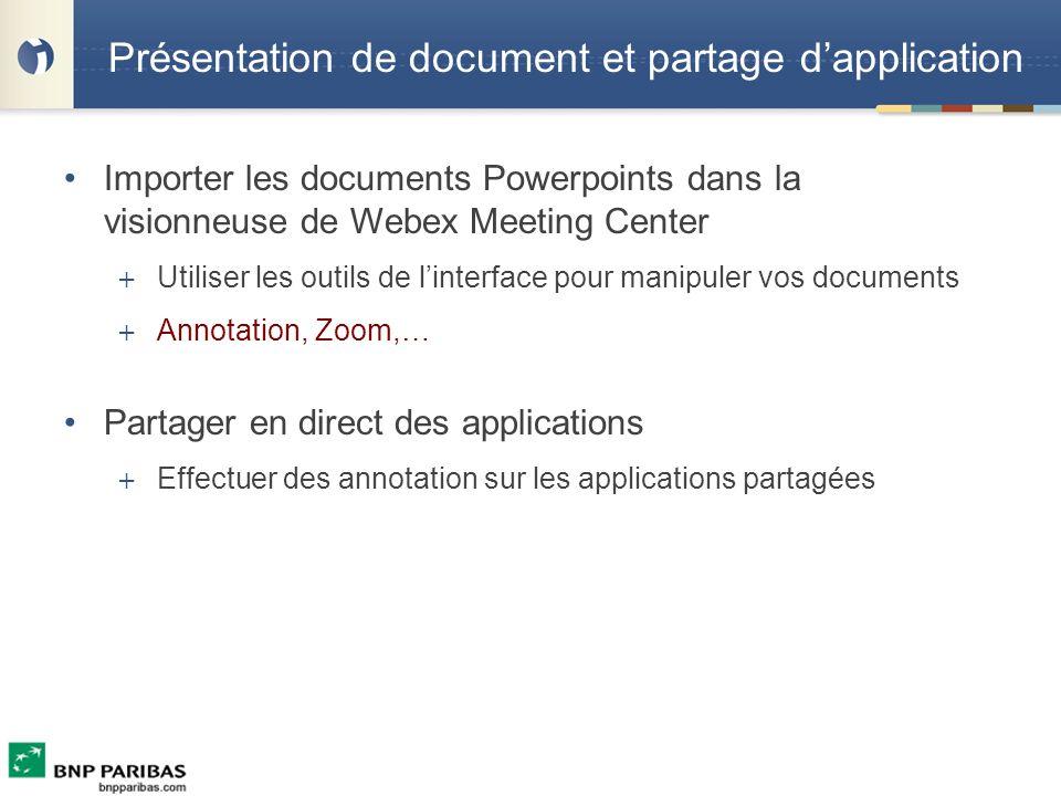 Présentation de document et partage d'application