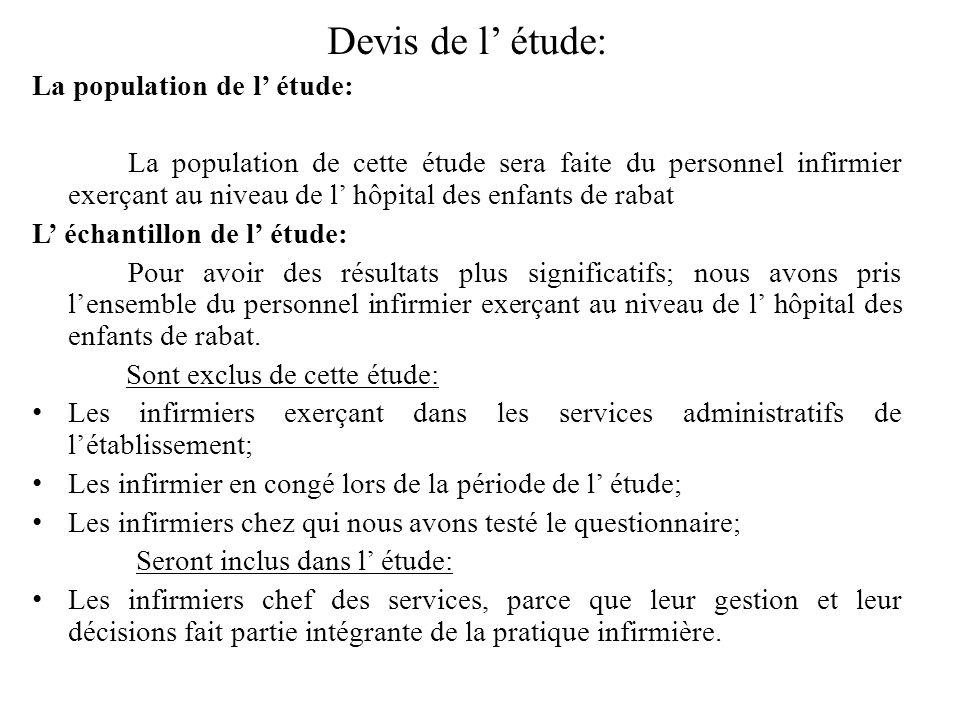 Devis de l' étude: La population de l' étude: