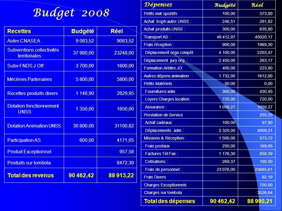 Budget 2008 Dépenses Total des dépenses 90 462,42 88 990,21 Recettes