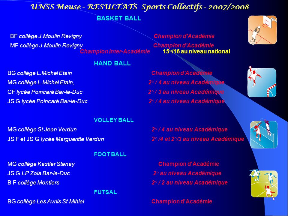 UNSS Meuse - RESULTATS Sports Collectifs - 2007/2008