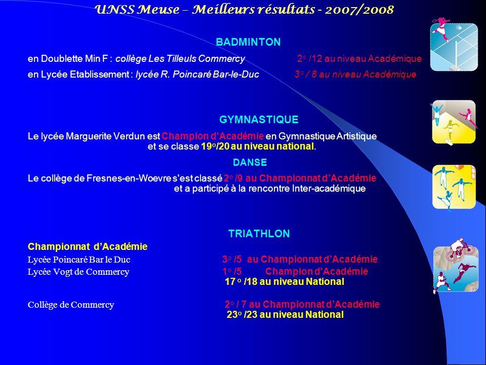UNSS Meuse – Meilleurs résultats - 2007/2008